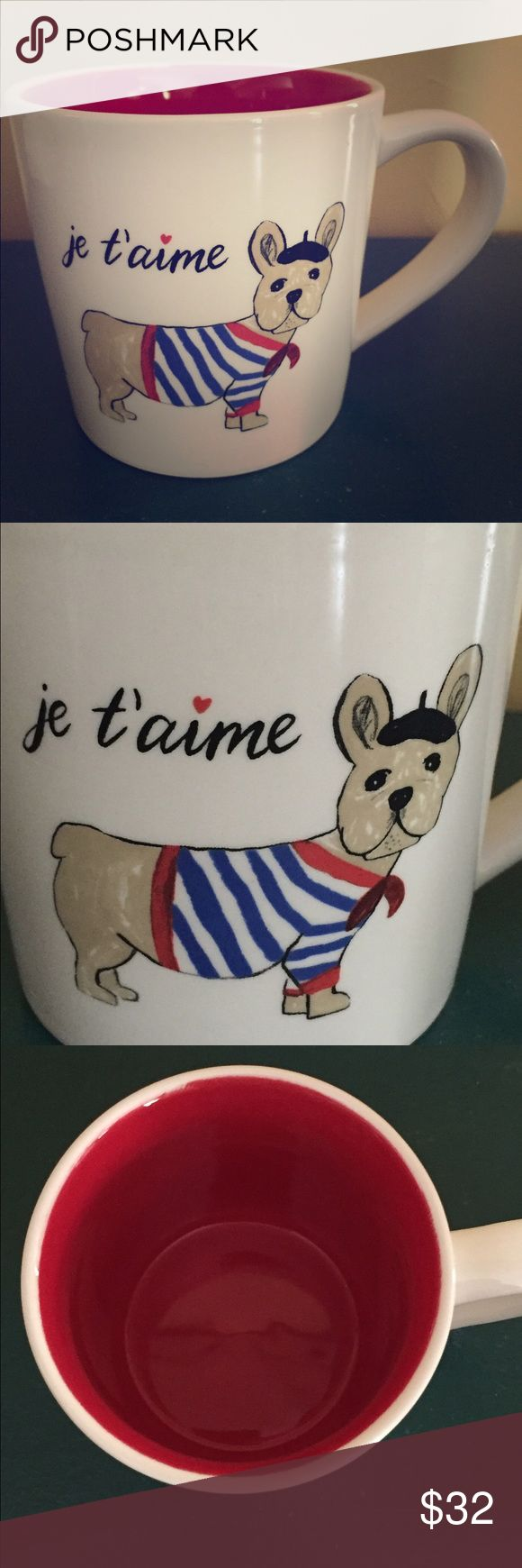 Magenta not Rae Dunn Je T'aime French Bull Dog Mug New Magenta (I love you) Je T'aime mug. White with red interior. Adorable French Bull dog in front. Not Rae Dunn but very similar Magenta Other