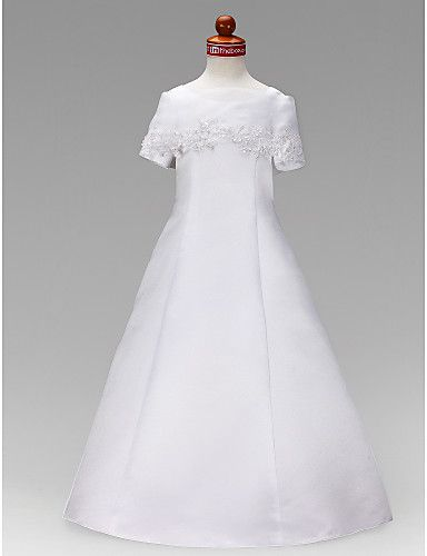 A-line Jewel Floor-length Satin Flower Girl Dress - NOK kr. 504