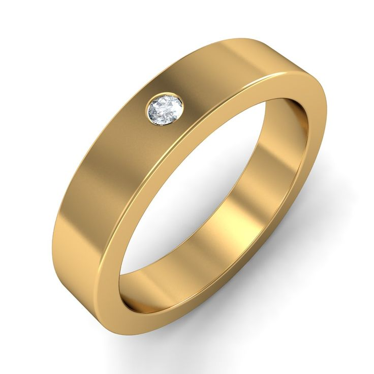 http://www.bluestone.com/rings/the-chrysus-ring~610.html  A smooth, plain band studded with a single, twinkling gemstone, this simple ring design is simple yet stunning. Made for a Man who wants to make a subtle statement.