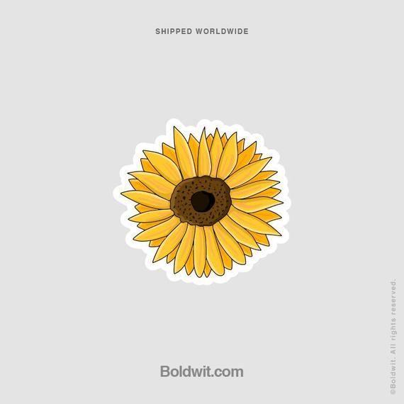 Sunflower Flower Sticker Waterproof Vinyl Yellow Laptop Car Bottle