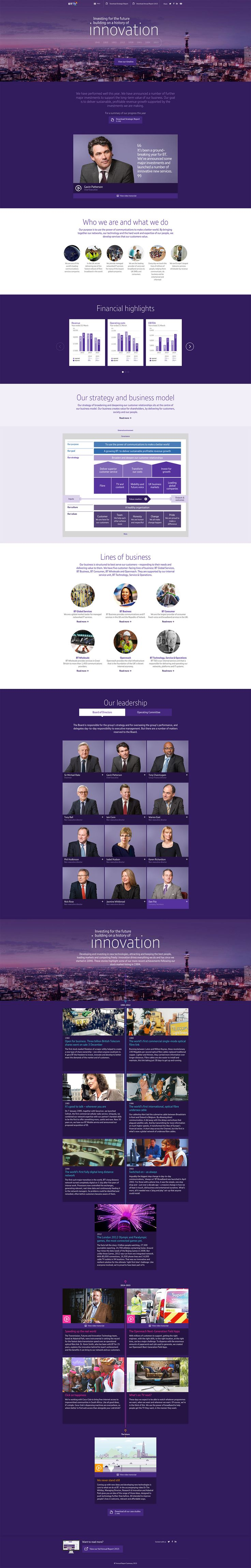 Slick annual report One Pager for 'BT' featuring professional imagery of the leadership team and financial infographics.