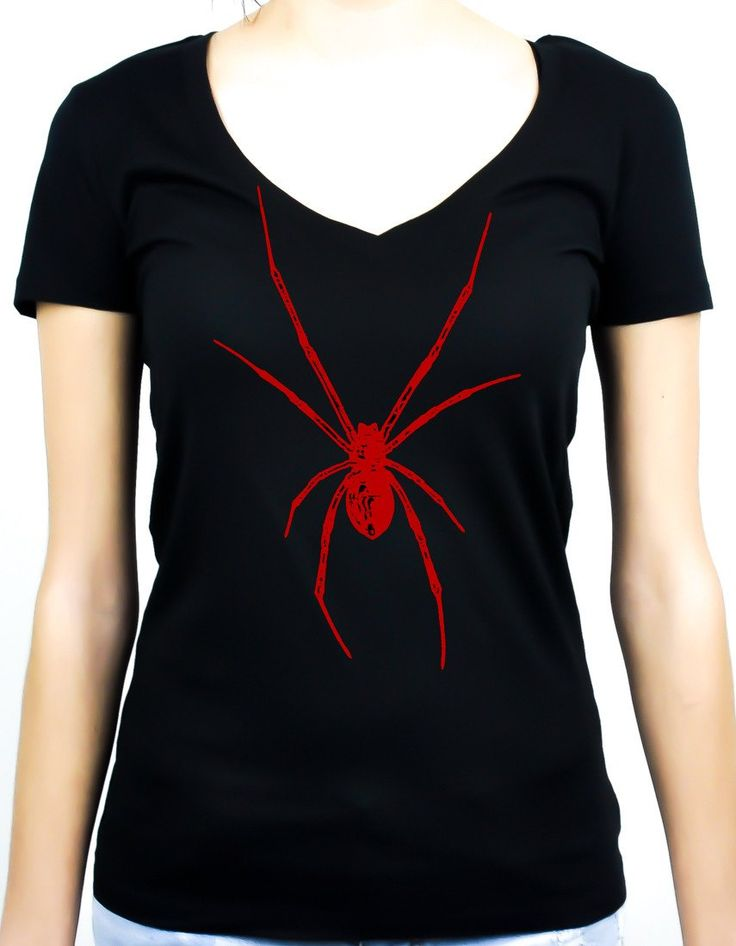 Red Print Black Widow Spider Women's V-neck Shirt  #gothrock #rivethead #emo #witchygirl #spooky #metalhead #metalbabe #monster #manga #witch