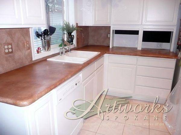 granicrete over laminate countertop and over tile backsplash artisan countertops laminate. Black Bedroom Furniture Sets. Home Design Ideas