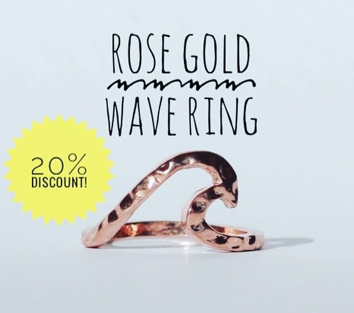 Rose gold wave ring, shop now for 20% discount on first purchase.  Bohemian treasures and jewels at www.saltwatersky.com.au