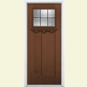 Masonite Oaklawn 6 Lite Carmel Fir Grain Textured Fiberglass Entry Door with Brickmold-26823 at The Home Depot