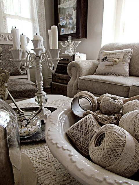 Love the old thread spools, and comfy feel of this room!: Thread Spools, Living Rooms, Monochromatic Rooms, Color Schemes, Shabby Chic, House, Color Theme, Antiques Decor, Bowls