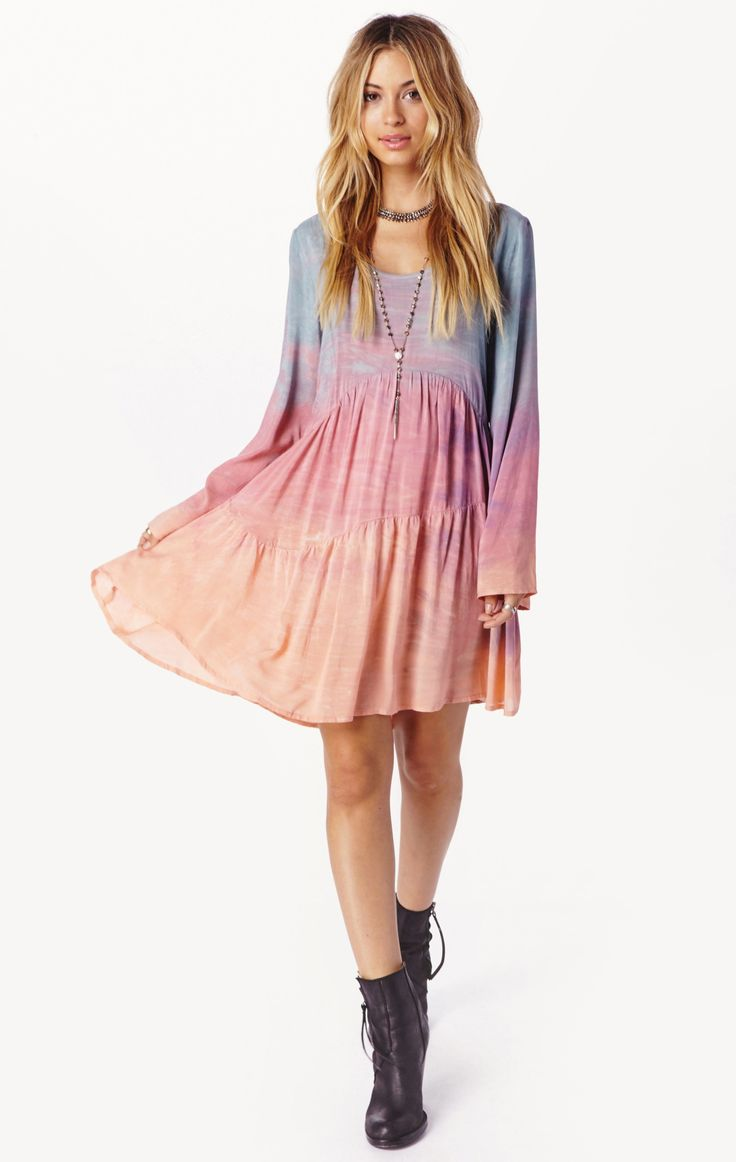 Blue Life Long Sleeve Ruffle Dress – California Bohemian, Retro and Hippie Dresses