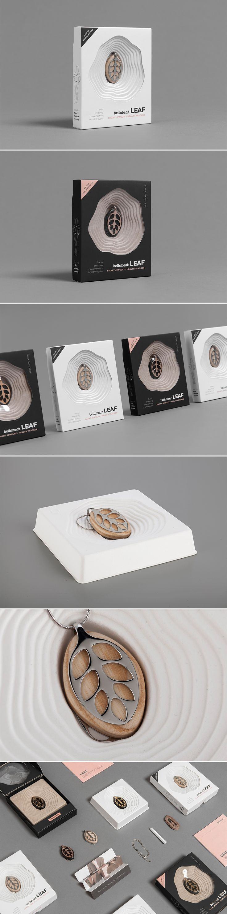 Packaging for Bellabeat LEAF - Silver Edition and Rose Gold Edition.    Product design: Urška Sršen & Urška Hvalica / Packaging design: Ana Rimac, Iva Jankov, Rebeka Vegelj