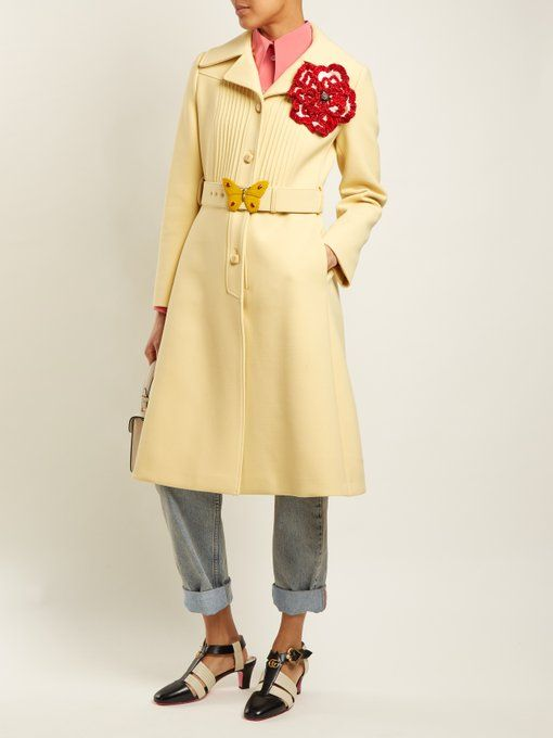 2efaa2c27 Gucci Pintucked butterfly-embellished belt coat | Gucci girl | Gucci ...