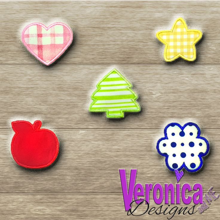 *All prices are in listed USD$  Appliqué Shape Designs - 5pack - for a fun, quirky addition to your monogram or other design/text.  Includes:  Heart Flower Tree Star Apple