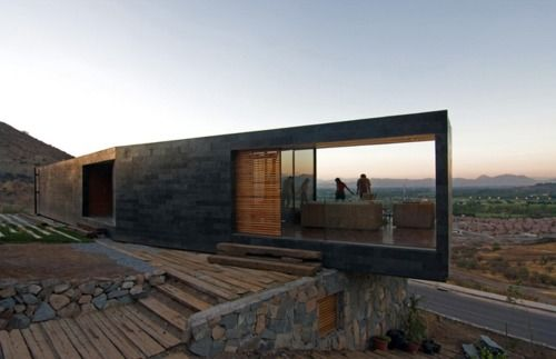 stone walls close to extension articulating into the garden space, linking and connecting materially and metaphorically: Chile, Open Spaces, Stones Wall, The View, Desert Home, Stones Houses, Gardens Spaces, Architecture, Houses Design