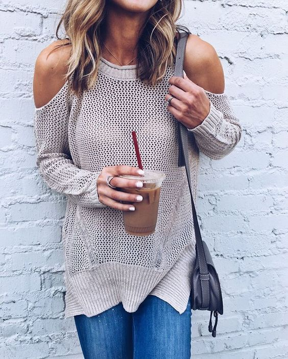 Beige Cold Shoulder Sweater
