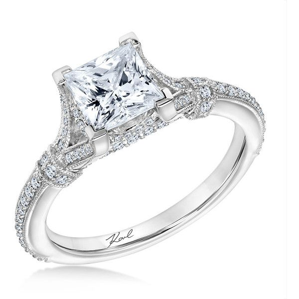 Karl Lagerfeld 31-KA171GCP Tour Eiffel Princess Platinum Engagement... ($3,600) ❤ liked on Polyvore featuring jewelry, rings, platinum jewellery, platinum engagement rings, engagement rings, platinum jewelry and platinum rings