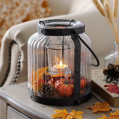 Clear Glass Lantern with Fall Leaves Filler