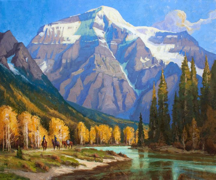 Untamed Perfection - Painting of a team of horses alonside a river with Mount Robson in behind by Jerry Markham