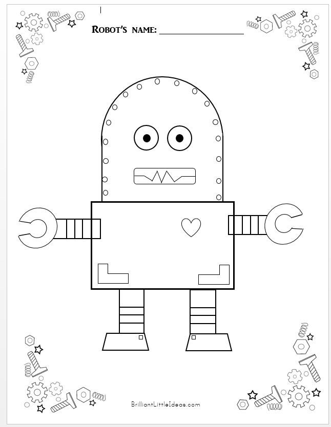 5 Free Robot Color Pages For Kids Free Printable Robot Theme Fun Friday Print Your Co Printables Free Kids Kids Colouring Printables Robots Illustration Kids