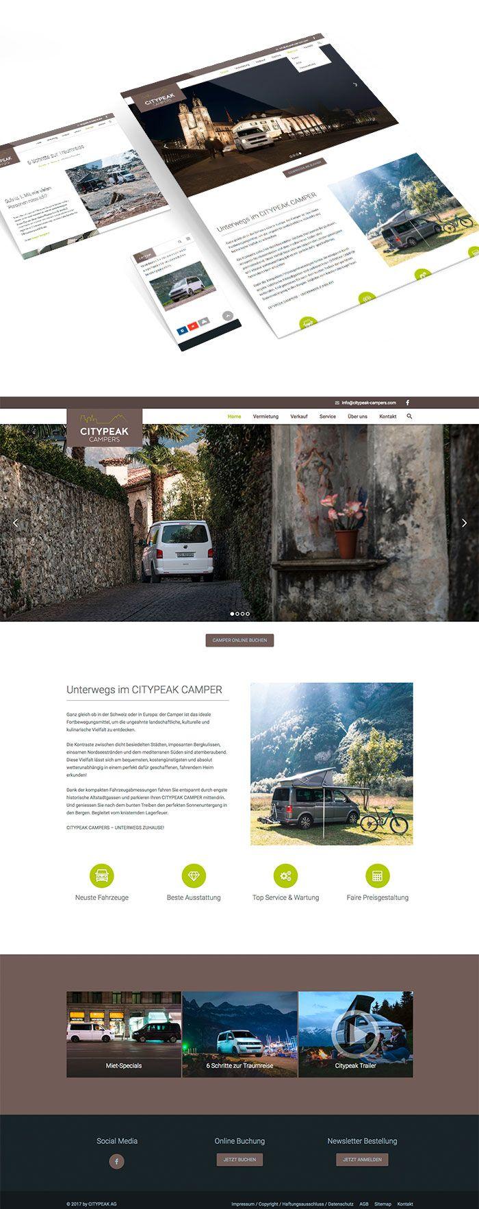 Kunde: CITYPEAK CAMPER | Branche: Tourismus | Werbemittel: Responsive-Website Design | Erscheinung: einmalig | Umfang: Design, Content und Umsetzung