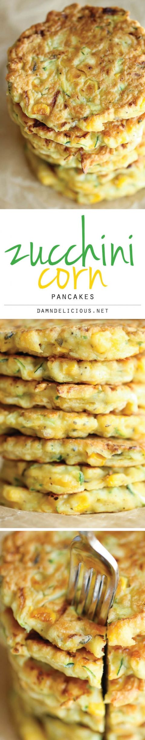 """Zucchini Corn Pancakes - Super easy pancakes perfect as a side dish or appetizer. And best of all, they don't even taste """"healthy""""!"""