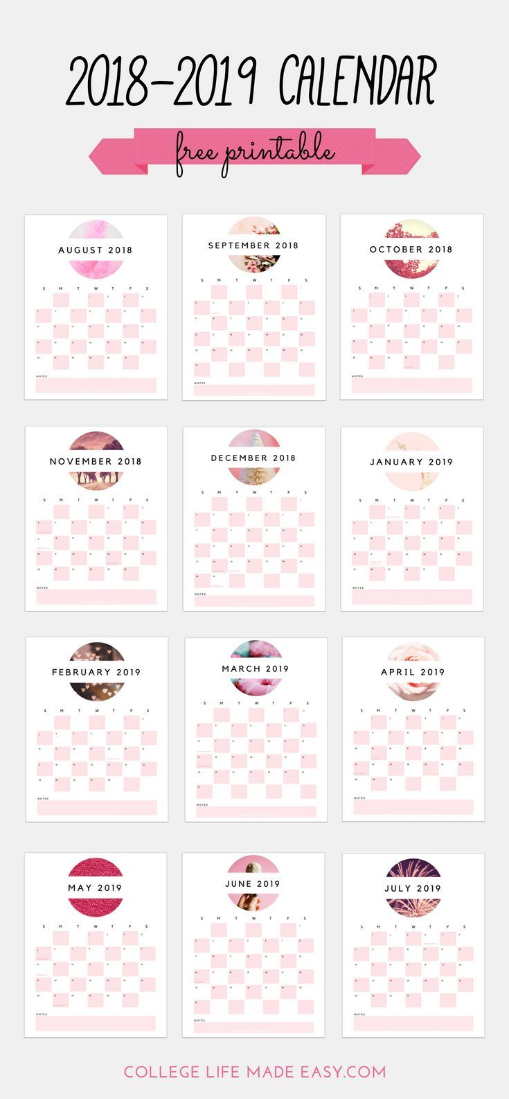 Free 2018 2019 Printable Calendar Cute In Soft Pink