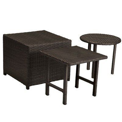 Palmilla Wicker Table Set by NFusion. $154.99. 217504 Features: -Durable.-Carefully woven wicker resists the weather.-Made for years of outdoor use.-Legs of tables share same elegant weaving while still providing sturdy support. Includes: -Set includes 3 Pieces: Cube ottoman, square-top table and circle-top table. Color/Finish: -Color: Dark Grey.-Wicker is the ideal poolside accent, but also goes great on hards capes, in any kind of outdoor living area, or on balconies...