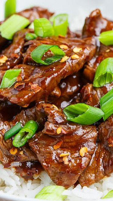 Mongolian Beef - add some more heat and it's perfect!  We used red pepper flakes and a little extra chili sauce