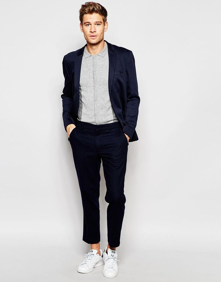 Image 4 ofASOS Skinny Fit Blazer In Jersey In Navy