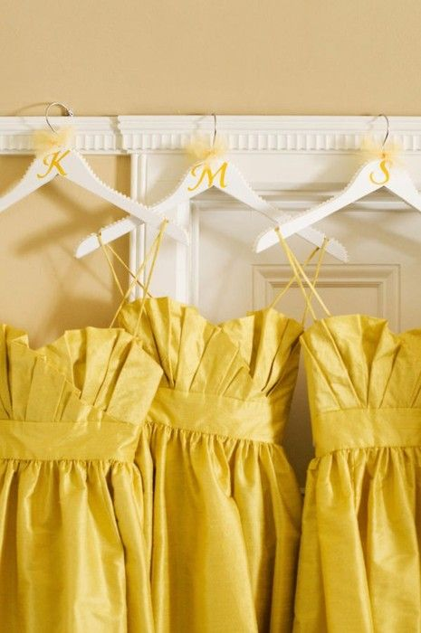Bridesmaid dresses with initials. Cute idea!: Idea, Bride Maids, Dresses Style, Yellow Dresses, Color, Wedding, Yellow Bridesmaids, The Dresses, Yellow Bridesmaid Dresses