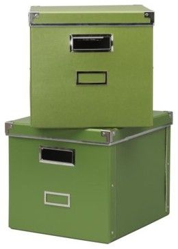 KASSETT Magazine Box with Lid - contemporary - storage boxes - - by IKEA  these would be good for storage too