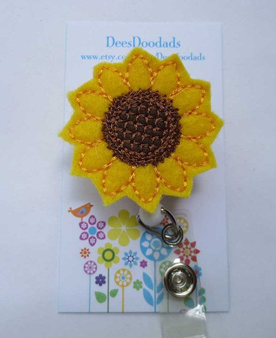 Felt Sunflower Badge Reel - Retractable Badge Reel - ID Badge - Name Badge Holder