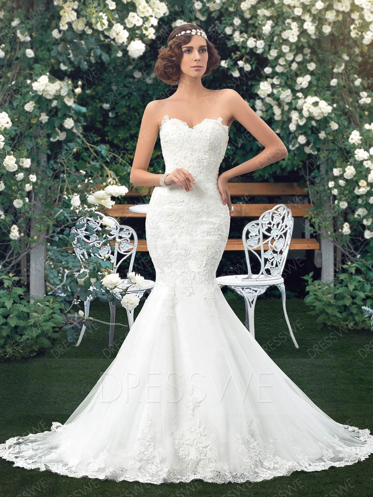 Shiny Mermaid Sweetheart Applique Lace-Up Wedding Dress Including the Crystal Belt