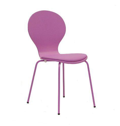 Tenzo 610-032 FLOWER 4-er Set Designer Stühle, Schichtholz lackiert, matt, Sitzkissen in Lederoptik, Untergestell Metall, lackiert, 87 x 46 x 57 cm, rosa