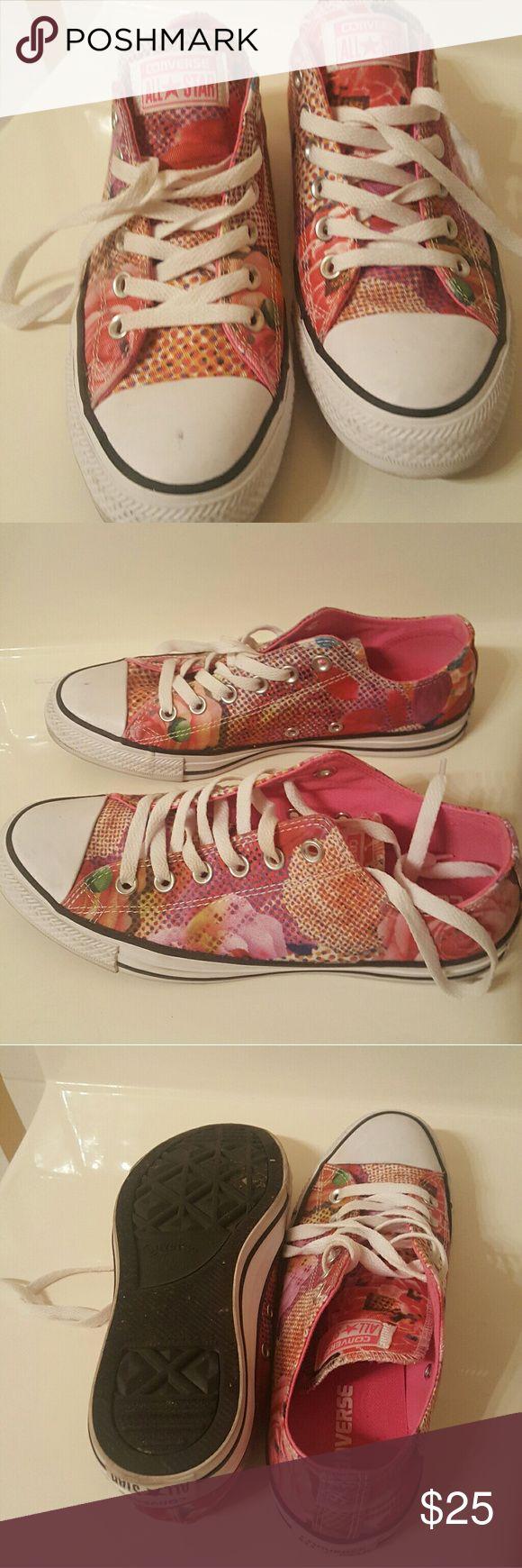 Converse Allstars/ Chuck Taylor's Pink, floral, Chuck Taylor's Converse Shoes Sneakers