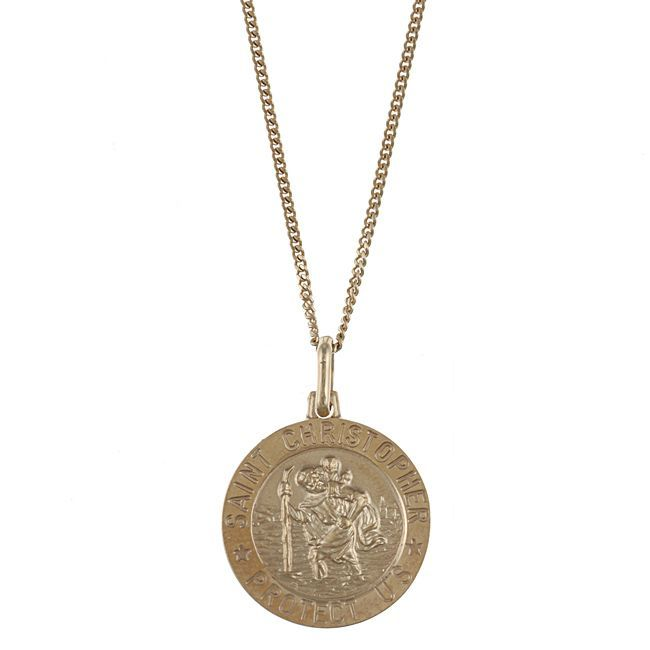 @Overstock - Crafted of 14-karat gold over sterling silver, this necklace features a classic St. Christopher design. A highly polished finish completes the look of this St. Christopher necklace.http://www.overstock.com/Jewelry-Watches/Caribe-Gold-14k-over-Sterling-Silver-St.-Christopher-Necklace/5599528/product.html?CID=214117 $41.99