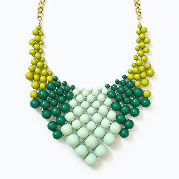 Color Block Bib - chunky beaded necklace with green & mint beads by Shamelessly Sparkly
