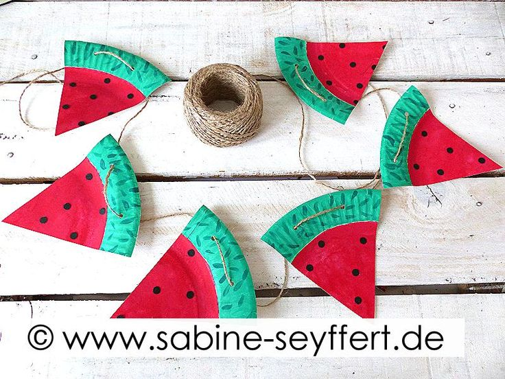 bastelidee für kinder wassermelone aus pappteller basteln