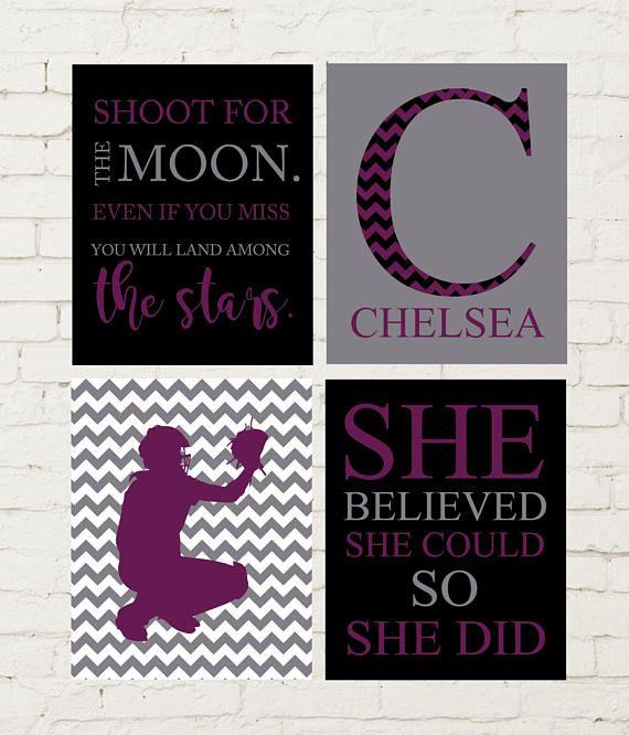 Shoot for the moon, softball room decor, inspirational girls art, softball catcher, girls softball art, softball quotes, set of 4