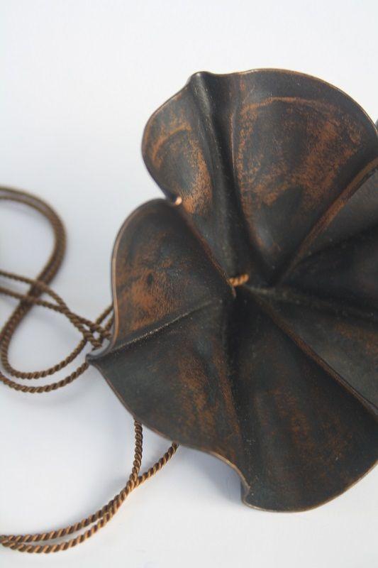 Fold Formed Pendant 2 By Yoshiko Ito Copper,Silk cord