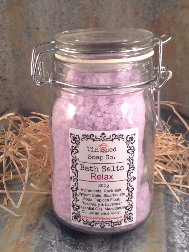 Relax Bath Salts 250g by TinShedSoapCo on Etsy https://www.etsy.com/listing/228123936/relax-bath-salts-250g