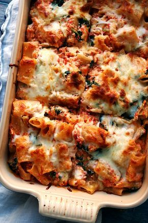 Cozy pasta bakes are a no-fail way to make dinner more delicious! And this baked ziti with roasted red peppers, baby kale, and ricotta is no exception.