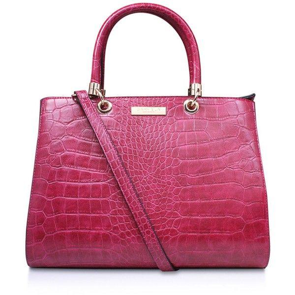 Carvela Darla Croc Tote ($78) ❤ liked on Polyvore featuring bags, handbags, tote bags, croc purse, purple purse, handbags tote bags, croco handbag and crocodile purse