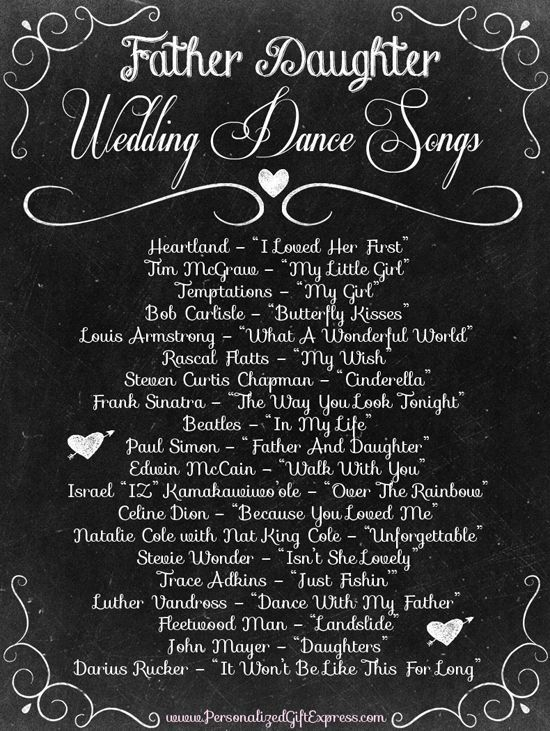 Father Daughter wedding dance songs...