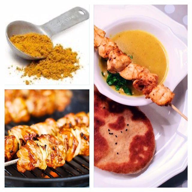 Karrysuppe med grillet kylling, naanbrød med fuldkorn og myntedip. | Kreamors Køkken