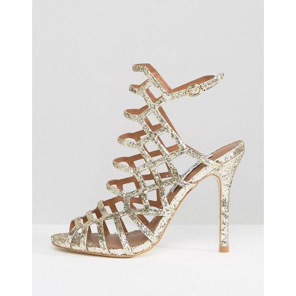 Steve Madden Slithur Gold Glitter Caged Heeled Sandals ($46) ❤ liked on Polyvore featuring shoes, sandals, gold strappy sandals, heeled sandals, ankle strap wedge sandals, platform sandals and strappy high heel sandals