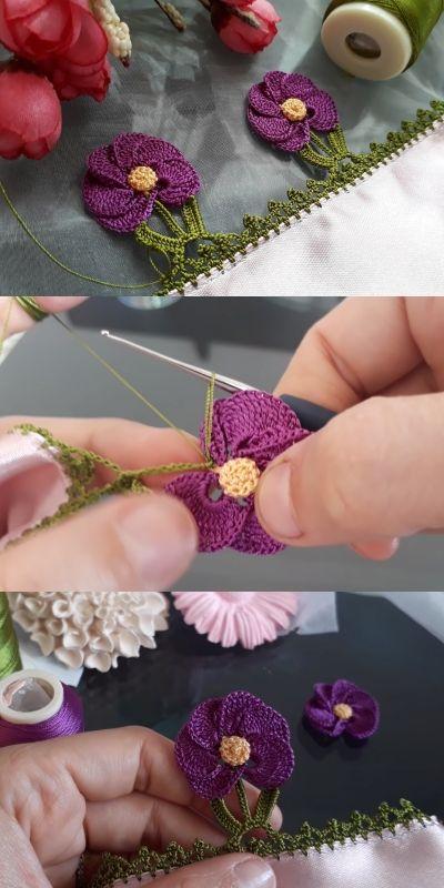 Gelin Çiçeği Tığ İşi Yazma ve Havlu Kenarı Oyası Modeli