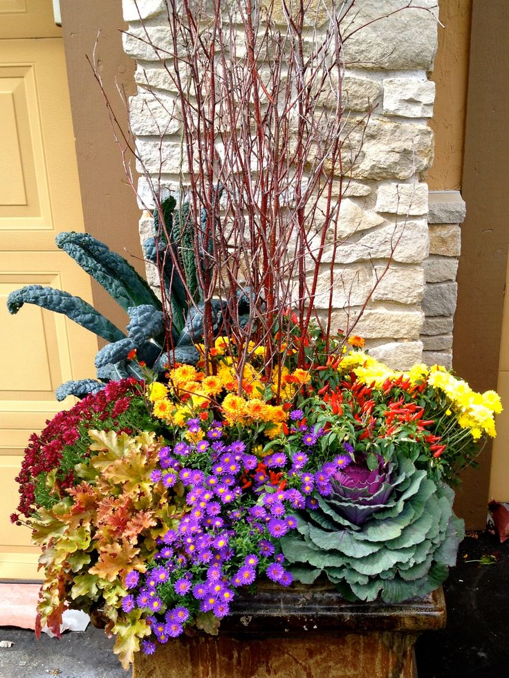 17 best ideas about fall planters on pinterest fall porches front porch decorating for fall - Potted autumn flowers ...