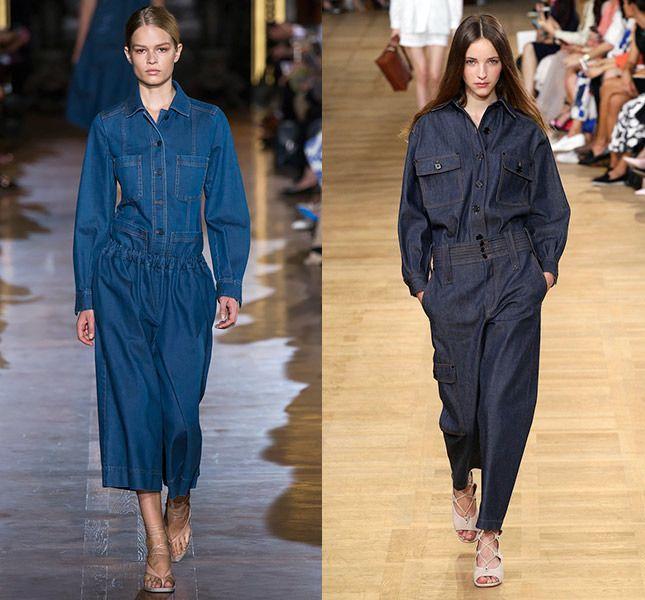 Тенденции. Джинсовые комплекты.    Теперь total look из денима — это не набор из скучных джинсов и стандартной куртки. Дизайнеры настаивают на усложнении и предлагают нам джинсовые комбинезоны, лаконичные костюмы и брюки-кюлоты без лишних деталей.