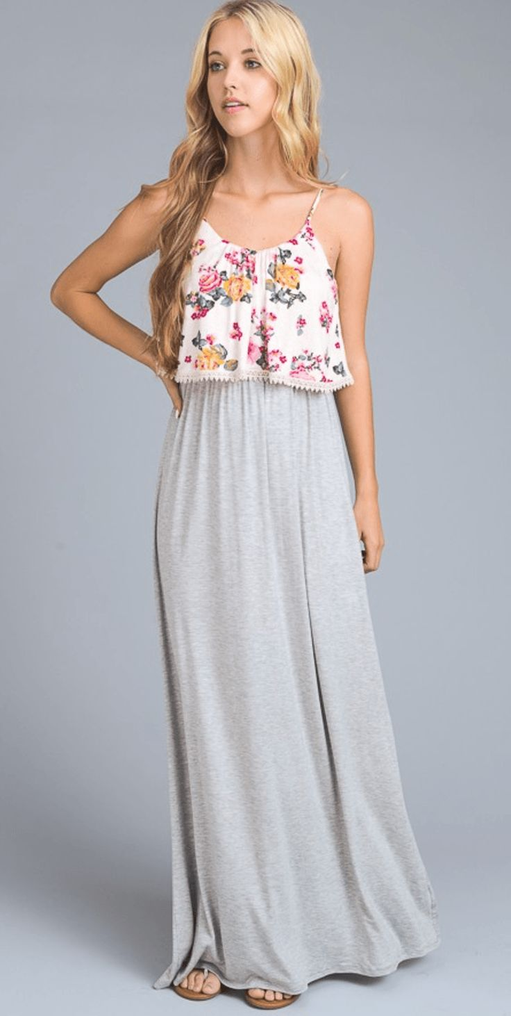CRUSH ON YOU MAXI DRESS - HEATHER GREY