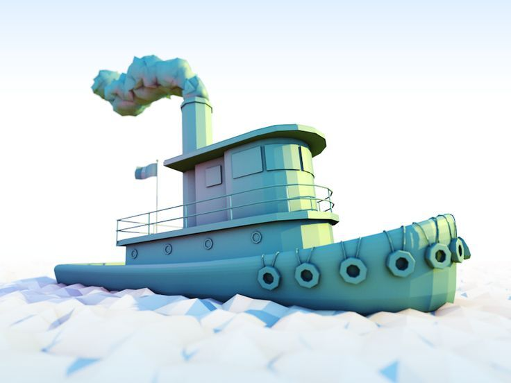 low poly tug boat - Google Search
