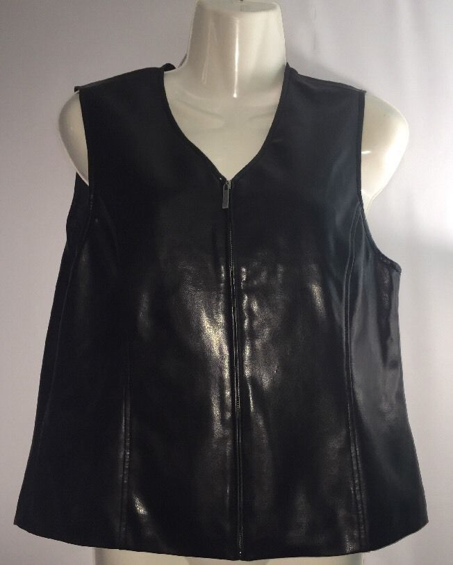 Petite Women's Sz PM Medium- Crazy Horse Black Faux Leather Zip Up Biker Vest #CrazyHorse