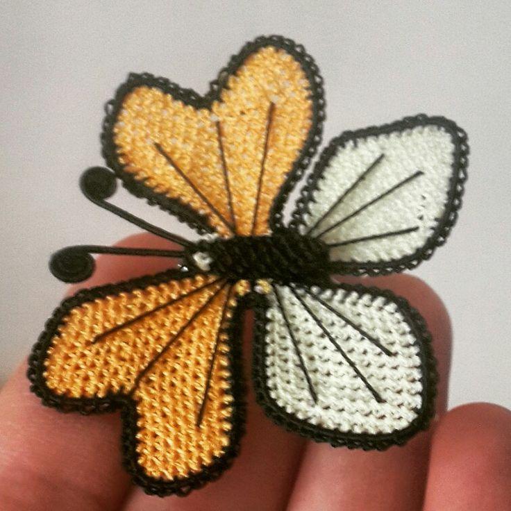 Turkish needle lace Butterfly  İğne oyası kelebek